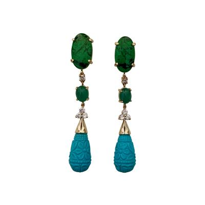 Michael Kneebone Michael Kneebone Maw Sit Sit Jade Emerald Turquoise Diamond Dangle Earrings