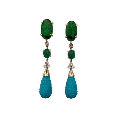 Michael Kneebone Michael Kneebone Maw Sit Sit Jade Emerald Turquoise Diamond Dangle Earrings