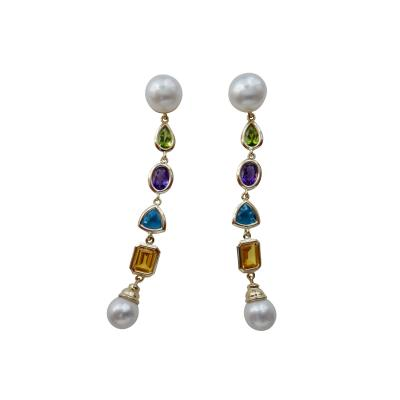 Michael Kneebone Michael Kneebone Multi gemstone Paspaley South Seas Pearl Dangle Earrings