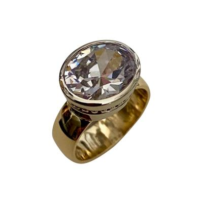 Michael Kneebone Michael Kneebone Oval Cut White Sapphire Two Tone 18 Karat Leah Ring