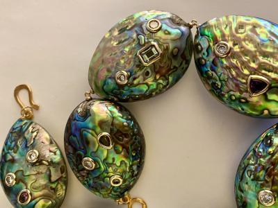Michael Kneebone Michael Kneebone Paua Shell Pearl Mixed Gemstone Bead Necklace