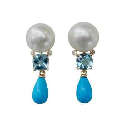 Michael Kneebone Michael Kneebone Pearl Aquamarine Turquoise Diamond Dangle Earrings
