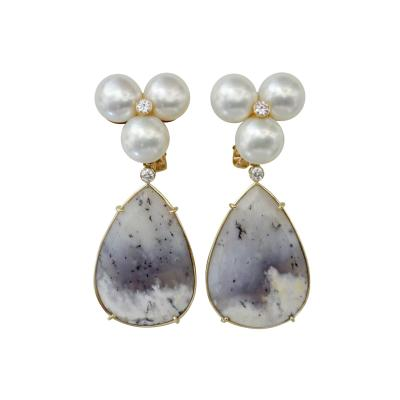 Michael Kneebone Michael Kneebone Pearl Cluster Diamond Dendritic Opal Dangle Earrings