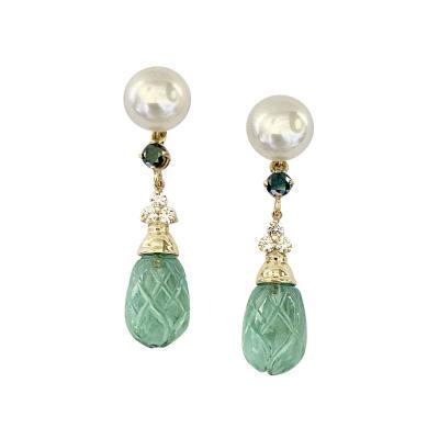 Michael Kneebone Michael Kneebone Pearl Montana Sapphire Diamond Apatite Dangle Earrings