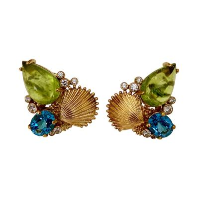 Michael Kneebone Michael Kneebone Peridot Blue Topaz Diamond Gold Shell earrings