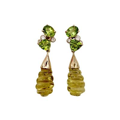 Michael Kneebone Michael Kneebone Peridot Diamond Carved Lemon Citrine Dangle Earrings