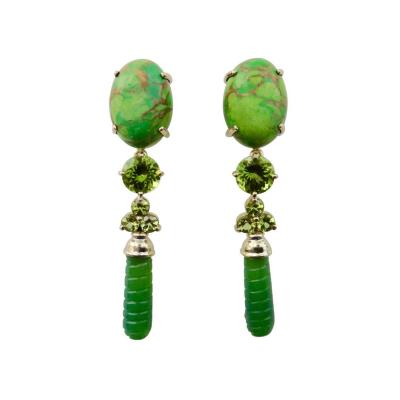 Michael Kneebone Michael Kneebone Peridot Variscite Aventurine Dangle Earrings