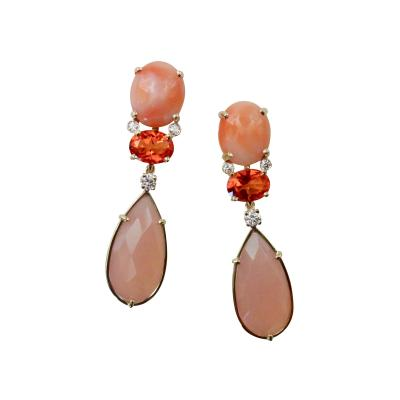 Michael Kneebone Michael Kneebone Pink Coral Fire Opal Pink Opal Diamond Dangle Earrings