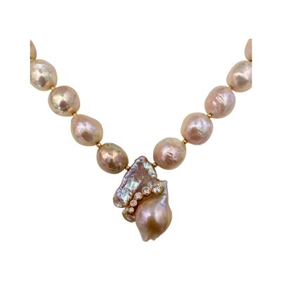 Michael Kneebone Michael Kneebone Pink Kasumi Pearl White Diamond Necklace