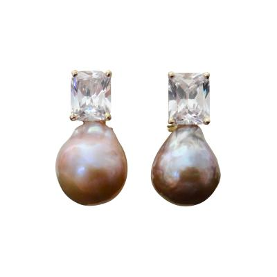 Michael Kneebone Michael Kneebone Pink Kasumi Pearl White Sapphire Drop Earrings