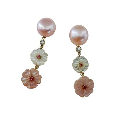 Michael Kneebone Michael Kneebone Pink Pearl Tourmaline Diamond Mother of Pearl Flower Earring