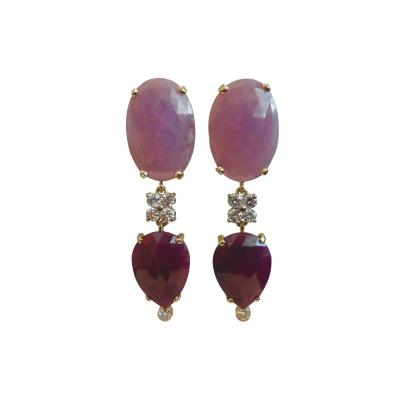 Michael Kneebone Michael Kneebone Pink Sapphire Ruby Slice White Diamond Dangle Earrings