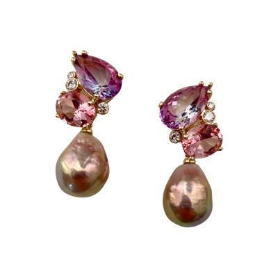 Michael Kneebone Michael Kneebone Pink Topaz Diamond Kasumi Pearl Dangle Earrings
