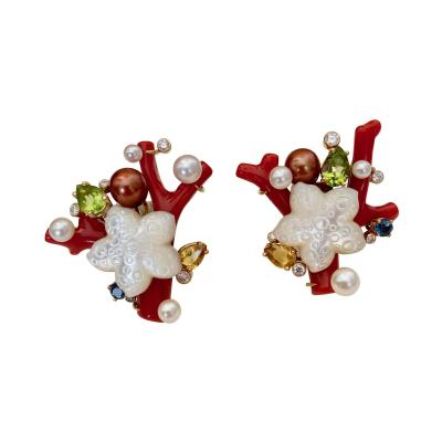 Michael Kneebone Michael Kneebone Red Coral Multi Gemstone Diamond Sea Life Earrings