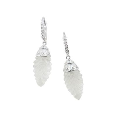 Michael Kneebone Michael Kneebone Rock Crystal Diamond White Gold Pinecone Dangle Earrings