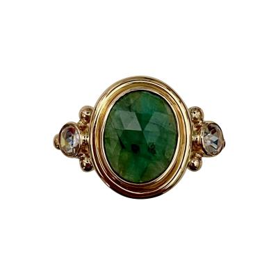 Michael Kneebone Michael Kneebone Rose Cut Emerald Rose Cut Diamond Archaic Style Cocktail Ring