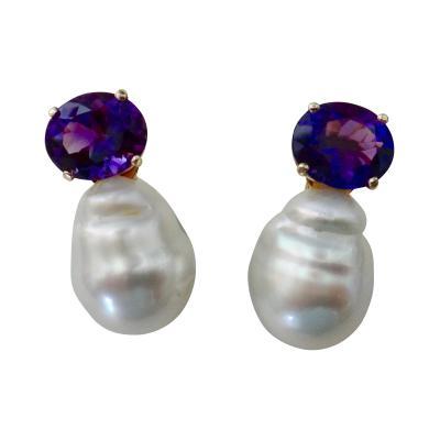 Michael Kneebone Michael Kneebone Royal Amethyst Baroque South Seas Pearl Drop Earrings