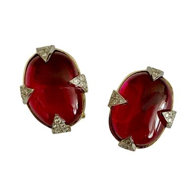Michael Kneebone Michael Kneebone Rubellite Diamond Cabochon Gold Platinum Button Earrings