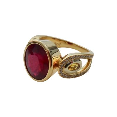 Michael Kneebone Michael Kneebone Ruby Yellow Sapphire Pave Diamond Ring