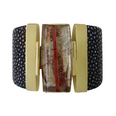 Michael Kneebone Michael Kneebone Rutilated Quartz Black Stringray Cuff Bracelet