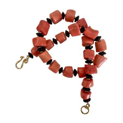 Michael Kneebone Michael Kneebone Salmon Branch Coral Black Onyx Nugget Necklace