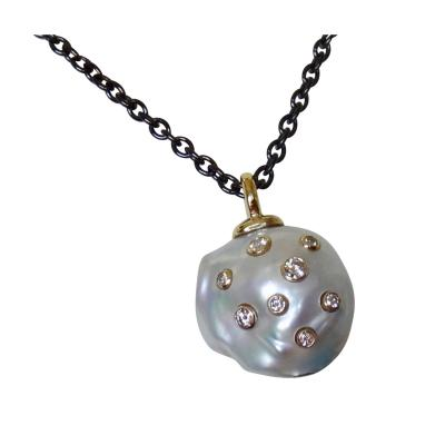 Michael Kneebone Michael Kneebone South Seas Pearl Diamond 18k Gold Blackened Steel Pendant