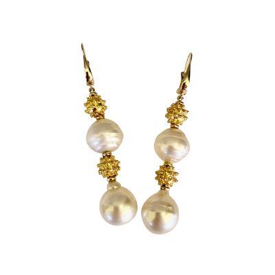 Michael Kneebone Michael Kneebone South Seas Pearl Granulated Bead Dangle Earrings
