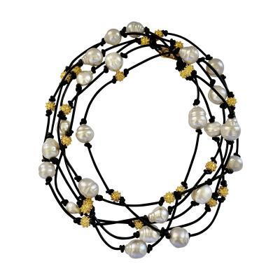 Michael Kneebone Michael Kneebone South Seas Pearl Granulated Bead Leather Torsade Necklace