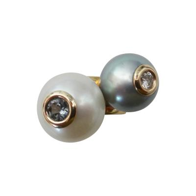 Michael Kneebone Michael Kneebone South Seas Pearl Tahitian Pearl Diamond Spinel Stacking Rings