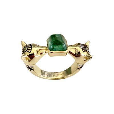 Michael Kneebone Michael Kneebone Sugarloaf Cabochon Emerald Diamond Egyptian Revival Cat Ring