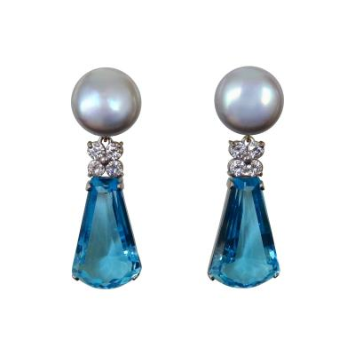 Michael Kneebone Michael Kneebone Swiss Blue Topaz Diamond Gray Pearl Dangle Earrings