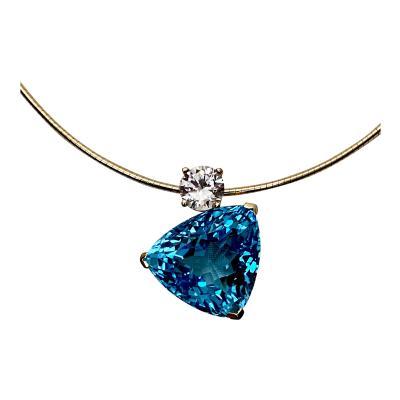 Michael Kneebone Michael Kneebone Swiss Blue Topaz White Sapphire Asymmetrical Pendant