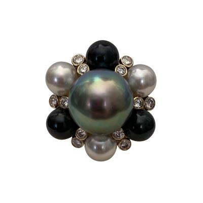 Michael Kneebone Michael Kneebone Tahitian Pearl Akoya Pearl Diamond Turban Cocktail Ring