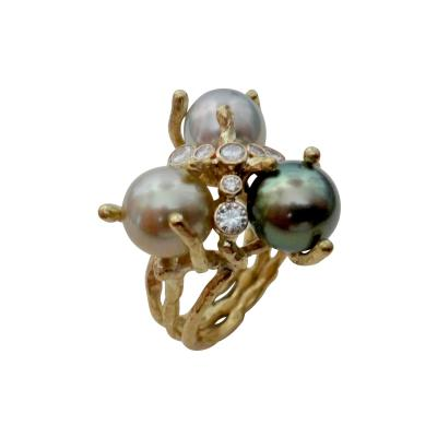 Michael Kneebone Michael Kneebone Tahitian Pearl Diamond Cluster Cocktail Ring