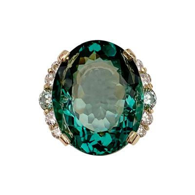 Michael Kneebone Michael Kneebone Teal Topaz Zircon White Diamond Cocktail Ring