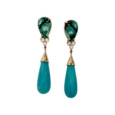 Michael Kneebone Michael Kneebone Tibetan Turquoise Diamond Amazonite Dangle Earrings