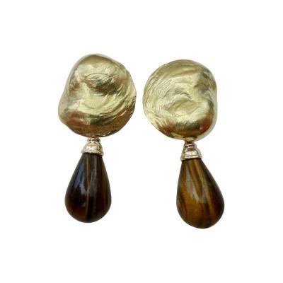 Michael Kneebone Michael Kneebone Tigers Eye 18 Karat Yellow Gold Jingle Dangle Earrings