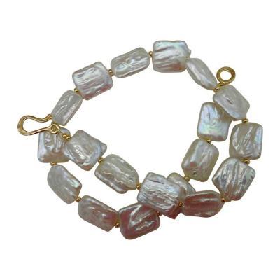 Michael Kneebone Michael Kneebone Tile Pearl Gold Bead Necklace