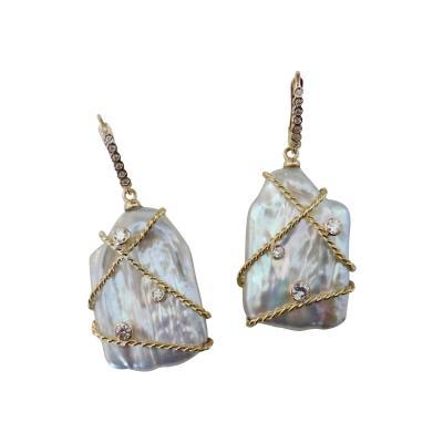 Michael Kneebone Michael Kneebone Tile Pearl White Diamond 18k Gold Dangle Earrings