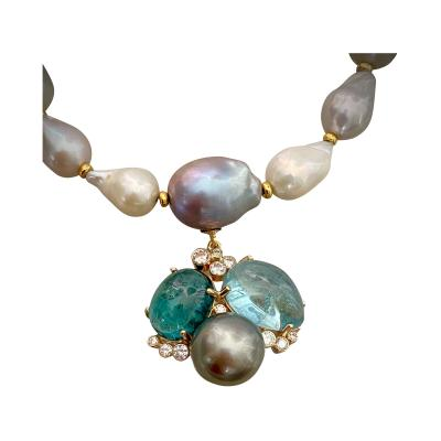 Michael Kneebone Michael Kneebone Tourmaline Aquamarine Tahitian Pearl Confetti Necklace