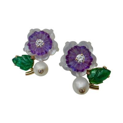 Michael Kneebone Michael Kneebone Tsavorite Garnet Amethyst Diamond Pearl Flower Earrings