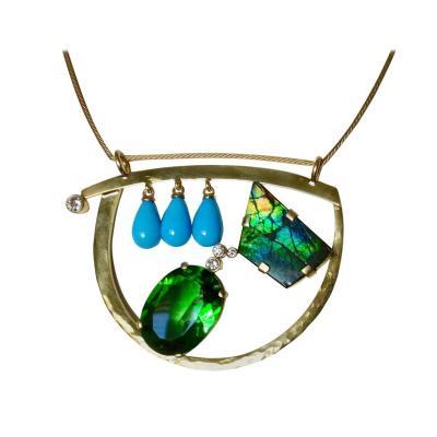 Michael Kneebone Michael Kneebone Turquoise Ammonite Moldavite Diamond Modernist Pendant