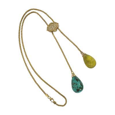 Michael Kneebone Michael Kneebone Turquoise Lemon Citrine Diamond 18k Gold Lariat Necklace
