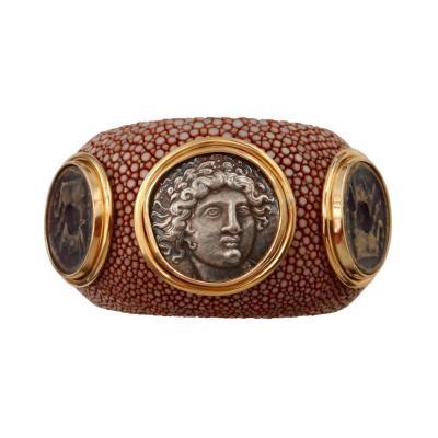 Michael Kneebone Michael Kneebone Venerable Three Coin Shagreen Cuff Bracelet