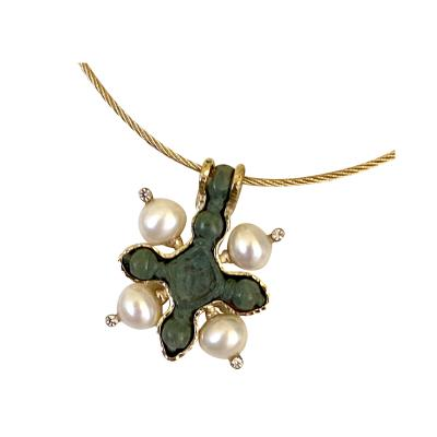 Michael Kneebone Michael Kneebone Viking Bronze Cross Pearl Diamond 18k Gold Pendant
