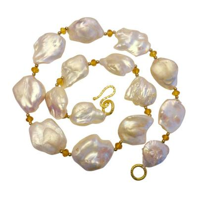Michael Kneebone Michael Kneebone White Baroque Keshi Pearl Citrine Gold Necklace