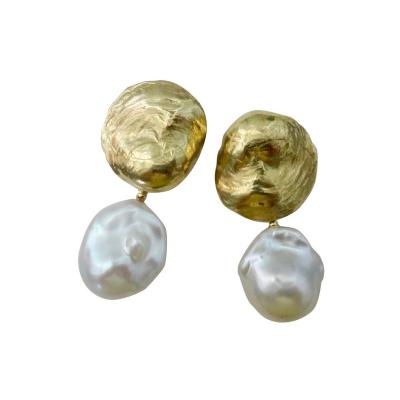 Michael Kneebone Michael Kneebone White Baroque Pearl 18 Karat Yellow Gold Jingle Earrings