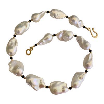 Michael Kneebone Michael Kneebone White Baroque Pearl Black Spinel Necklace