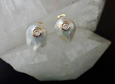 Michael Kneebone Michael Kneebone White Baroque Pearl White Diamond Stud Earrings
