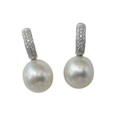 Michael Kneebone Michael Kneebone White Diamond Paspaley South Seas Pearl Drop Earrings